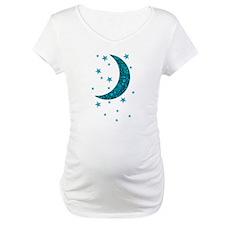 Cyan Blue Moon Stars Flowers Shirt