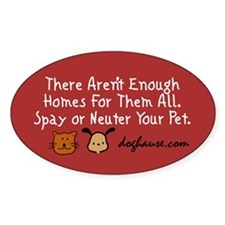 Too Few Homes Spay & Neuter Oval Decal