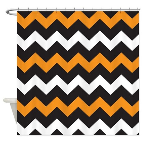 Black Orange And White Chevron Shower Curtain By BeautifulBed