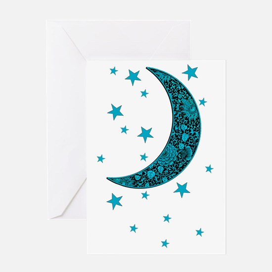 Cyan Blue Moon Stars Flowers Greeting Cards