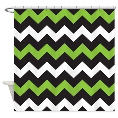 Black Green And White Chevron Shower Curtain By Beautifulbed