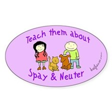 Teach Spay and Neuter Oval Decal