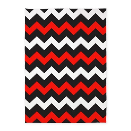 Black Red And White Chevron 5 X7 Area Rug By Beautifulbed