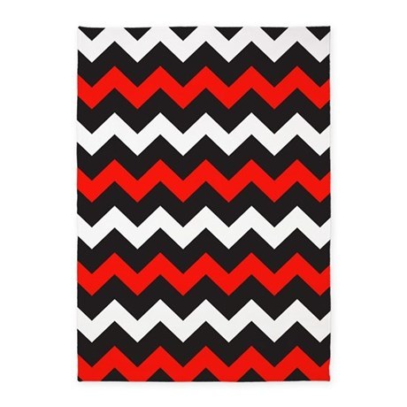 Black Red And White Chevron 5 39 X7 39 Area Rug By BeautifulBed