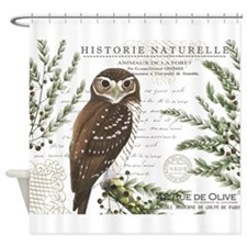 modern vintage French winter woodland owl Shower C