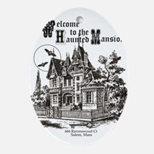 vintage Halloween haunted house Ornament (Oval)