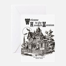 vintage Halloween haunted house Greeting Cards
