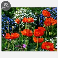 Colorful Flower Bed with Red Poppies Puzzle