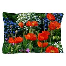 Colorful Flower Bed with Red Poppies Pillow Case