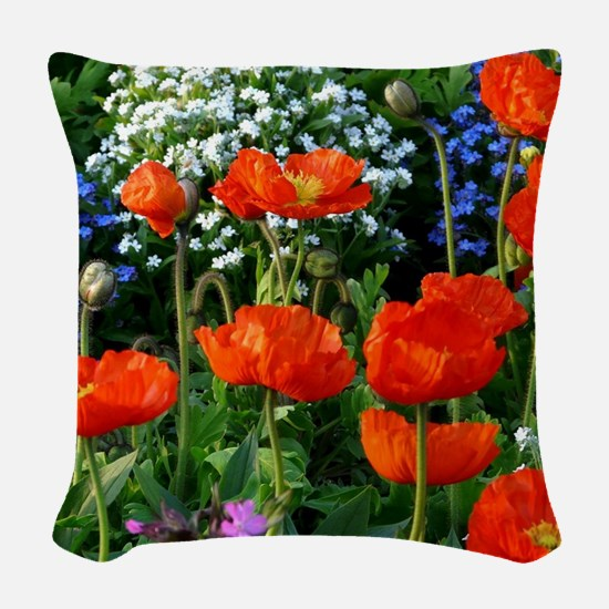 Colorful Flower Bed with Red P Woven Throw Pillow