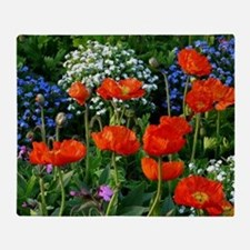 Colorful Flower Bed with Red Poppies Throw Blanket