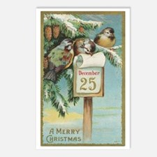 Vintage Christmas Sparrow Postcards (package Of 8)