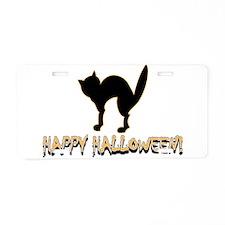 Happy Halloween Black Cat Aluminum License Plate