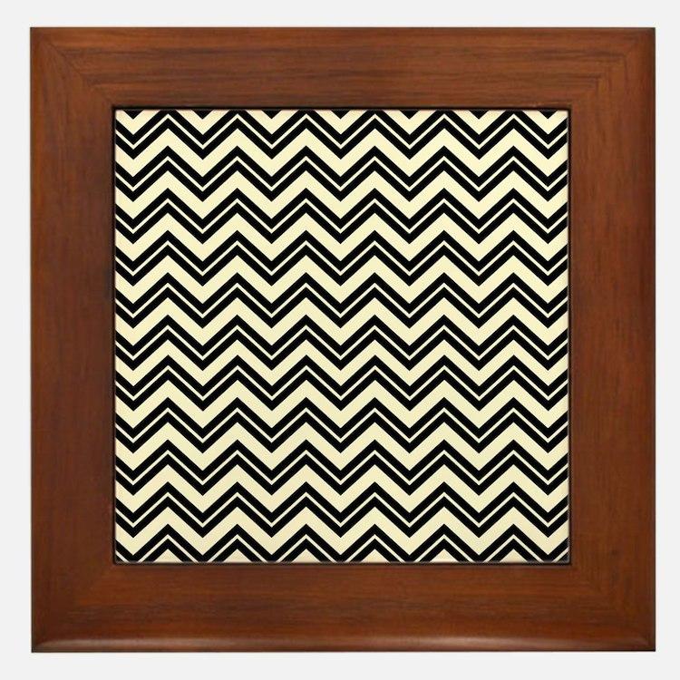 Cute Black beige chevron Framed Tile