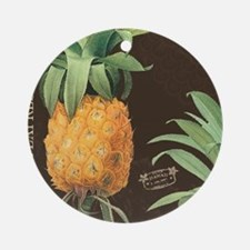 Modern vintage tropical pineapple Ornament (Round)