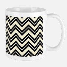 Black And Beige Cream Zigzag Chevron Pattern Mugs