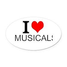 I Love Musicals Oval Car Magnet