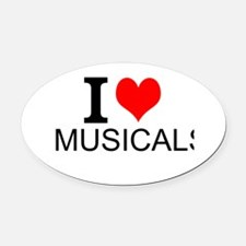 I Love Musicals Oval Car Magnet