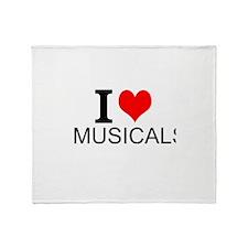I Love Musicals Throw Blanket