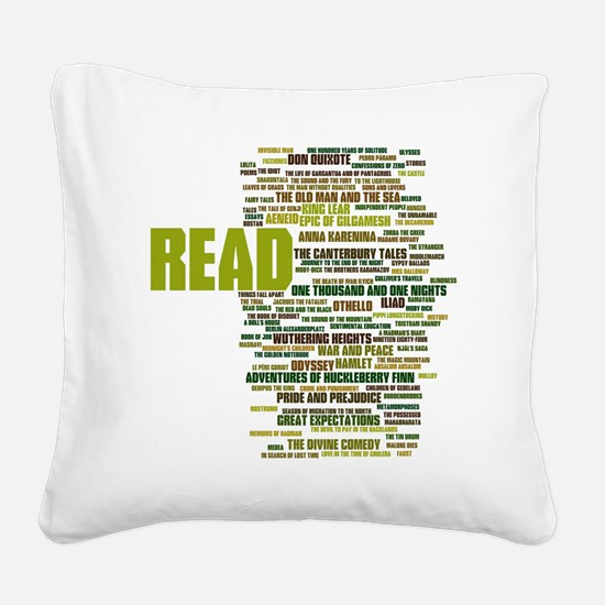 READ!  The 100 Best Books of  Square Canvas Pillow