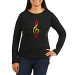 Hot Treble Clef Women's Long Sleeve Dark T-Shirt