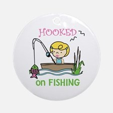 Hooked Fishing Ornament (Round)