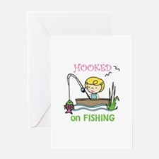Hooked Fishing Greeting Cards