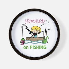 Hooked Fishing Wall Clock