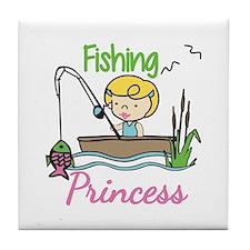 Fishing Princess Tile Coaster