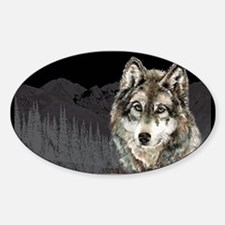 Wolf Mountain Watercolor Animal Nature Art Decal