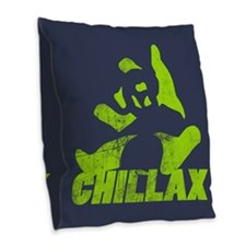 Chillax Lime Grunge Panda Burlap Throw Pillow