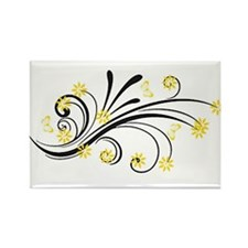 yellow flowers and butterflies Magnets