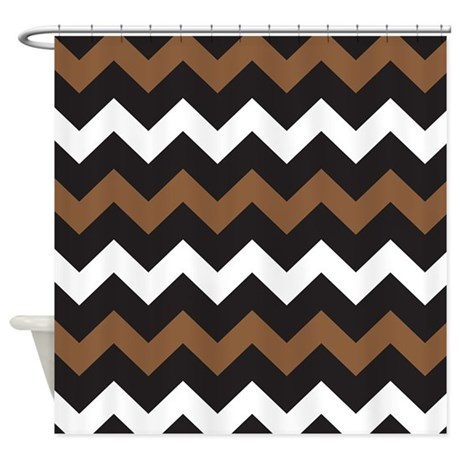 Black Brown And White Shower Curtain By BeautifulBed