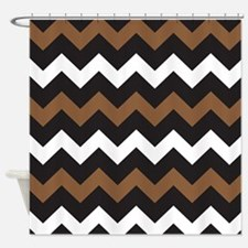 Black Brown And White Shower Curtain