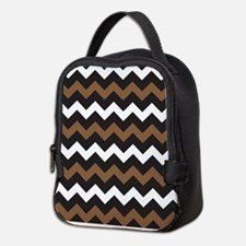 Black Brown And White Neoprene Lunch Bag