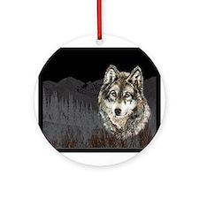 Wolf Mountain Watercolor Animal Nature Art Ornamen