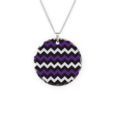 Black Purple And White Chevron Necklace