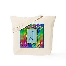 J Colorful Zig Zag Monogram Tote Bag