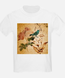 vintage rose bird paris french botanical art T-Shi