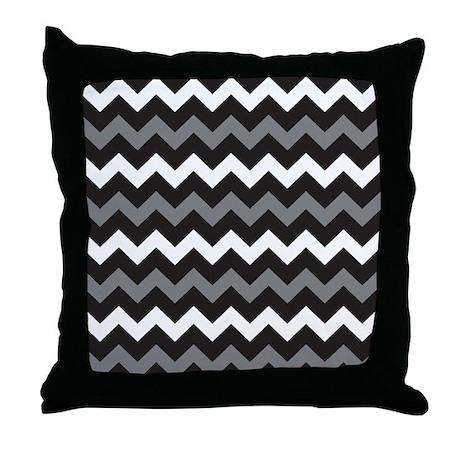 Black And White Chevron Throw Pillows : Black Gray And White Chevron Throw Pillow by BeautifulBed