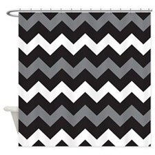 Black Gray And White Chevron Shower Curtain