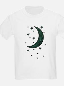 green moon stars flowers T-Shirt