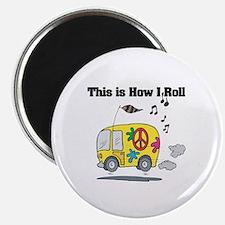 How I Roll (Hippie Bus/Van) Magnet