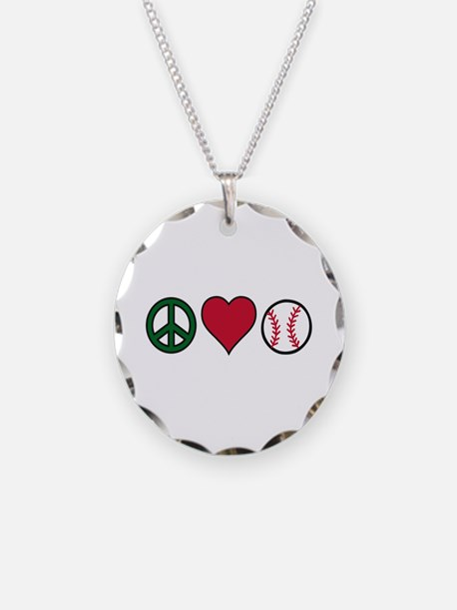 Peace Heart Baseball Necklace