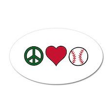 Peace Heart Baseball Wall Decal