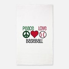 Peace Love Baseball 3'x5' Area Rug