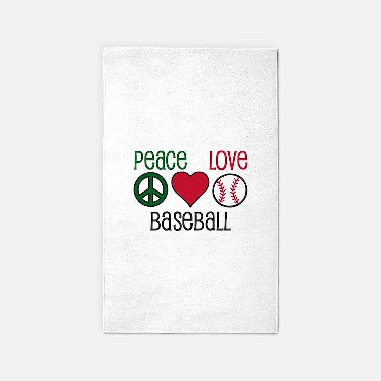 Peace Love Baseball 3'x5' Area Rug