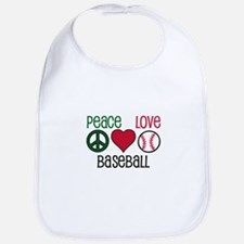 Peace Love Baseball Bib