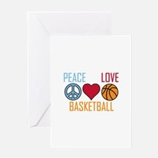 Peace Love Basketball Greeting Cards