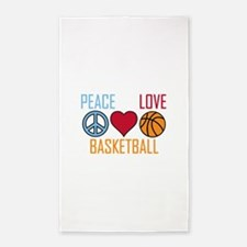 Peace Love Basketball 3'x5' Area Rug